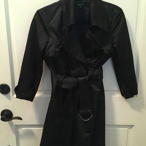 Bebe black satin trench coat size small